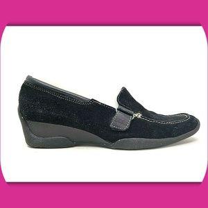 AEROSOLES Slip It On Suede Wedge Loafers